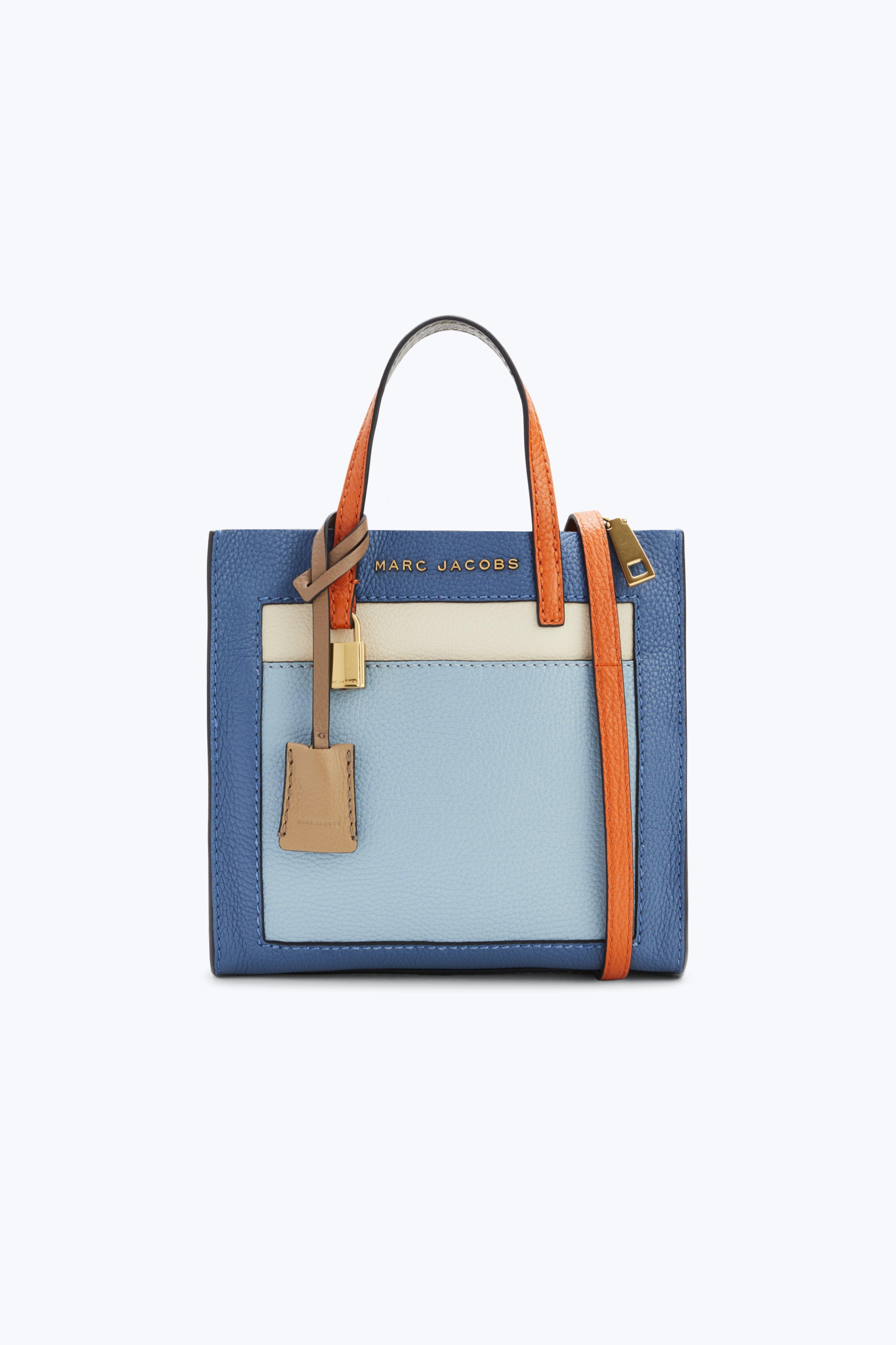 Marc Jacobs The Colorblocked Mini Grind Bag In Vintage Blue Multi