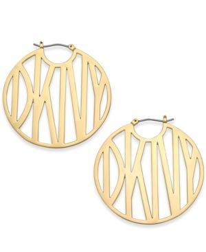 Dkny Gold-tone Logo Hoop Earrings, Created For Macy's