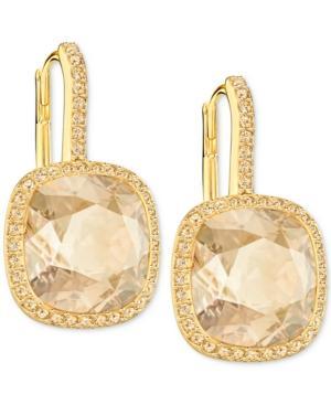 Swarovski Crystal Halo Drop Earrings In Gold