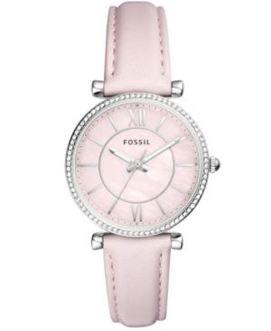 Fossil Women's Carlie Pastel Pink Leather Strap Watch 36mm In Pink/ Silver