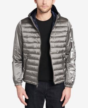 Calvin Klein Men's Mixed Media Hooded Jacket, Created For Macy's In Silver Grey
