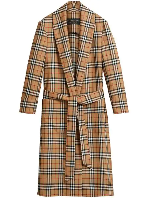 Burberry Reissued Vintage Check Dressing Gown Coat In Yellow
