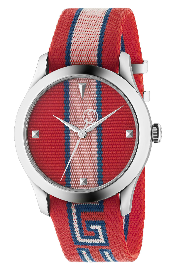 Gucci G-Timeless Stripe Textile-Strap Watch In Pink