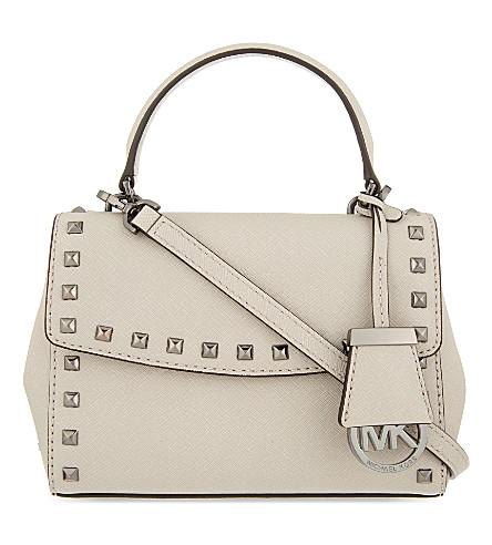 eec255c6e20a Michael Michael Kors Ava Stud Extra-Small Saffiano Leather Cross-Body Bag  In Cement