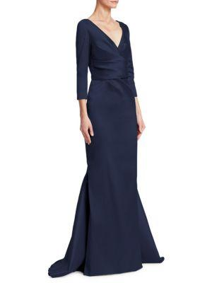 Theia Draped Mermaid Gown In Midnight