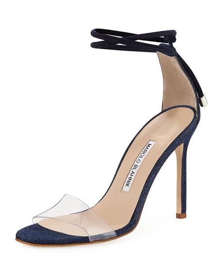 Manolo Blahnik Estro Fabric & Pvc Ankle-Wrap Sandal, White Pattern In Blue