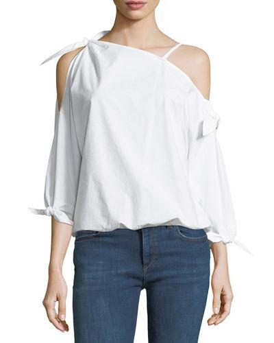 ec82aec6b367f4 Joie Colissa One-Shoulder Cotton Blouse In Salsa