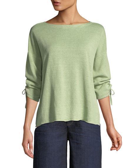 Eileen Fisher Organic Linen Knit Tie-Cuff Sweater In Aloe