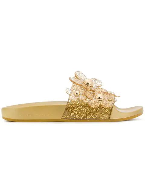 Marc Jacobs Daisy Pave Aqua Pool Slide Sandal In Metallic