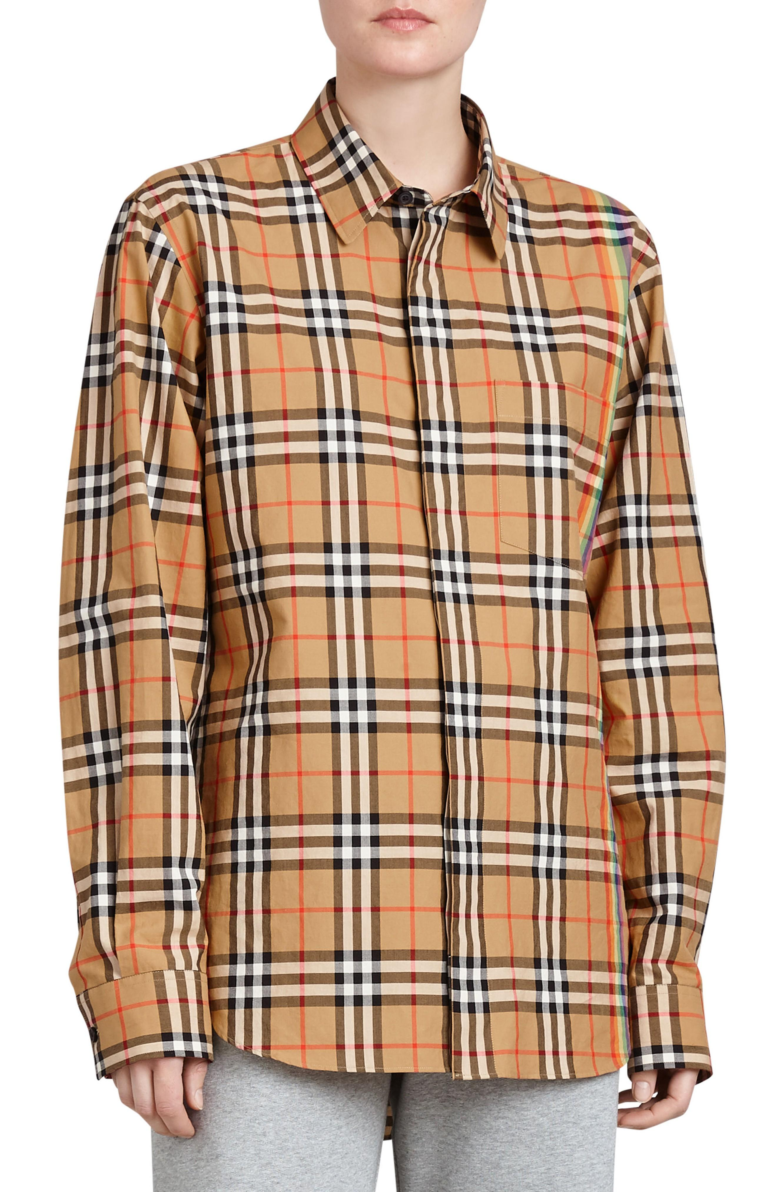92f25f6092b0 Burberry Rainbow Vintage Checked Cotton Shirt In Aetique Yellow ...