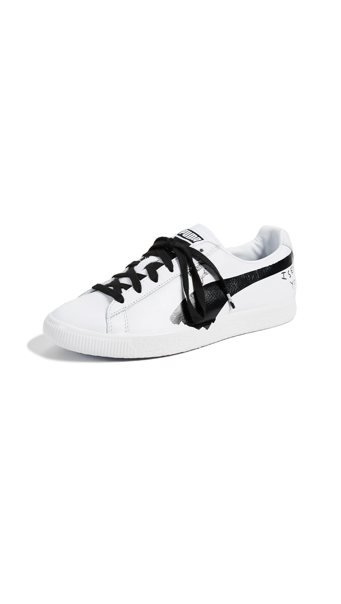 premium selection bc602 9e952 Puma X Shantell Martin Women's Clyde Leather Lace Up Sneakers In White/  Black