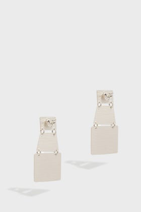 Annie Costello Brown Stak Layered Earrings In Silver