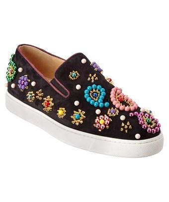 82ccf4ae316e Christian Louboutin Boat Candy Beaded Suede Skate Sneakers In Black ...