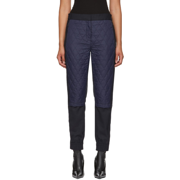 Tibi Mix Media Quilted Jogger Pants In Navy