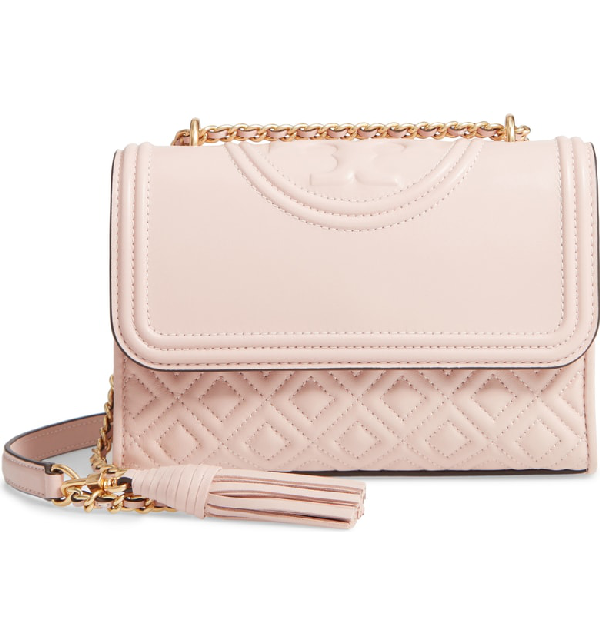 e5757d68aced Tory Burch Fleming Quilted Leather Small Convertible Shoulder Bag In Shell  Pink