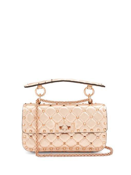 cd8af87167 Valentino Rockstud Spike Small Quilted-Leather Shoulder Bag In Rose Gold