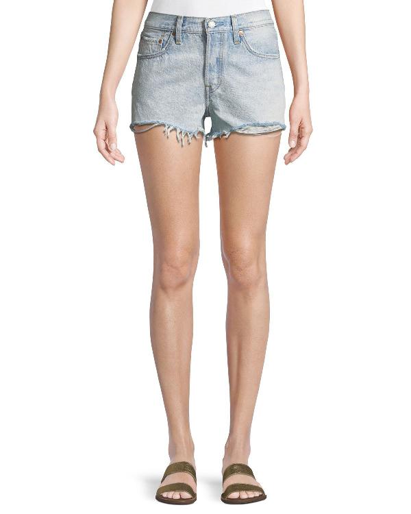 Levi's Bleached Authentic Denim Cutoff Shorts In Light Blue