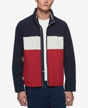 Tommy Hilfiger Men's Lightweight Taslan Jacket In Navy/white/red
