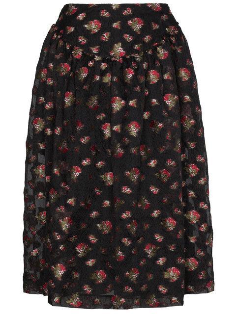 Simone Rocha Floral Embroidered Full Midi Skirt In Black