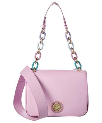 Salvatore Ferragamo Medium Flower Flap Leather Shoulder Bag In Pink