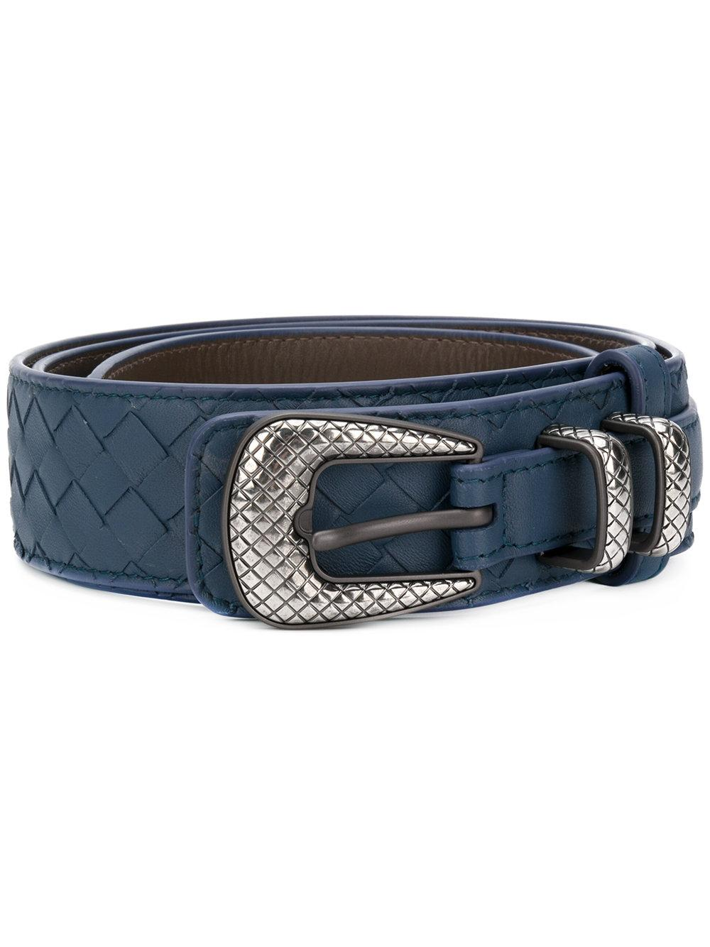 50a57d75b3 Bottega Veneta Denim Intrecciato Nappa Belt - Blue