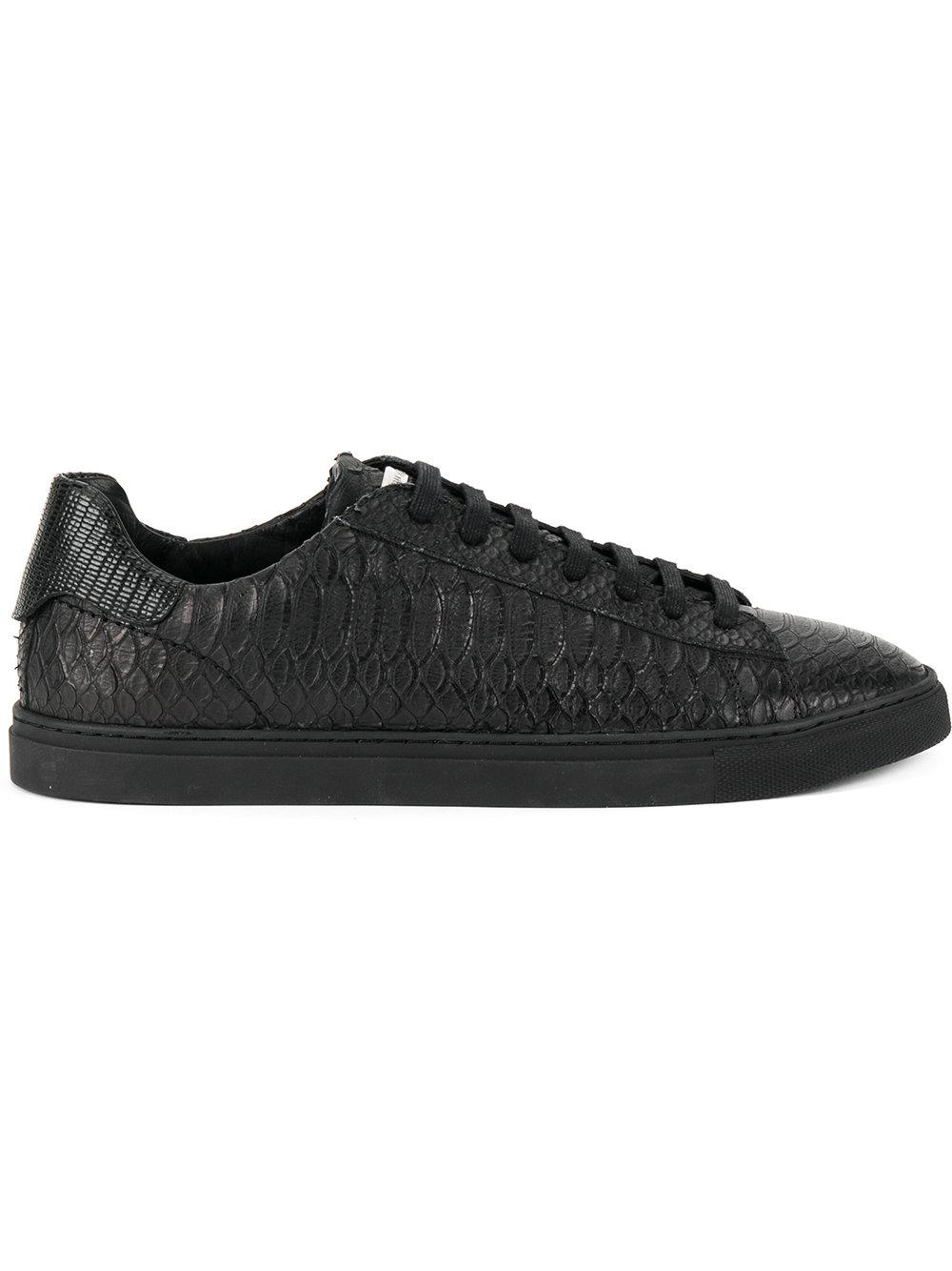 2410084403 Dsquared2 Snakeskin Effect Embossed Sneakers - Black