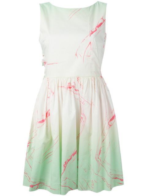 Marc By Marc Jacobs Marble Print Flared Dress In 320 Light Mint Multi
