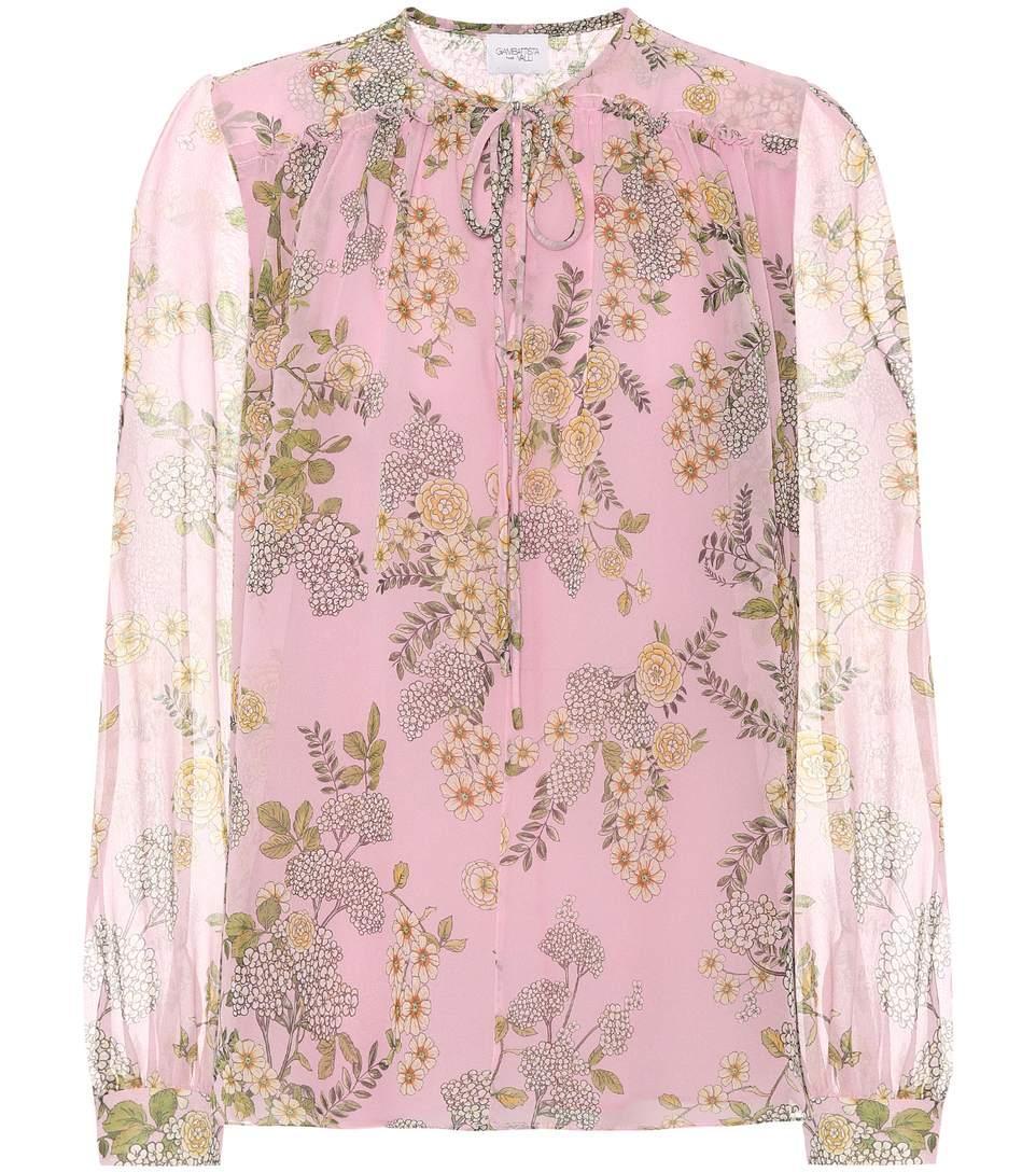 Giambattista Valli Floral Silk Tie-Neck Blouse In Pink