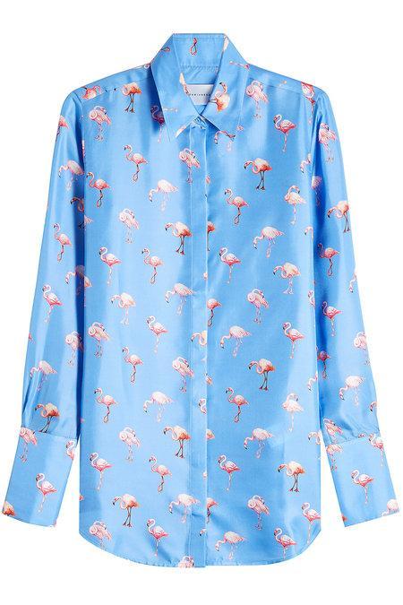 Victoria Victoria Beckham Flamingo Print Shirt In Blue