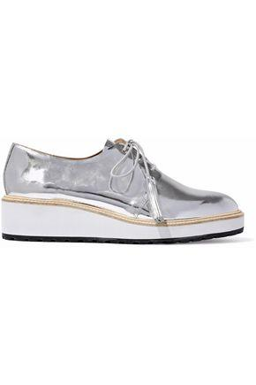 ba563ee012d Woman Callie Mirrored-Leather Wedge Brogues Silver