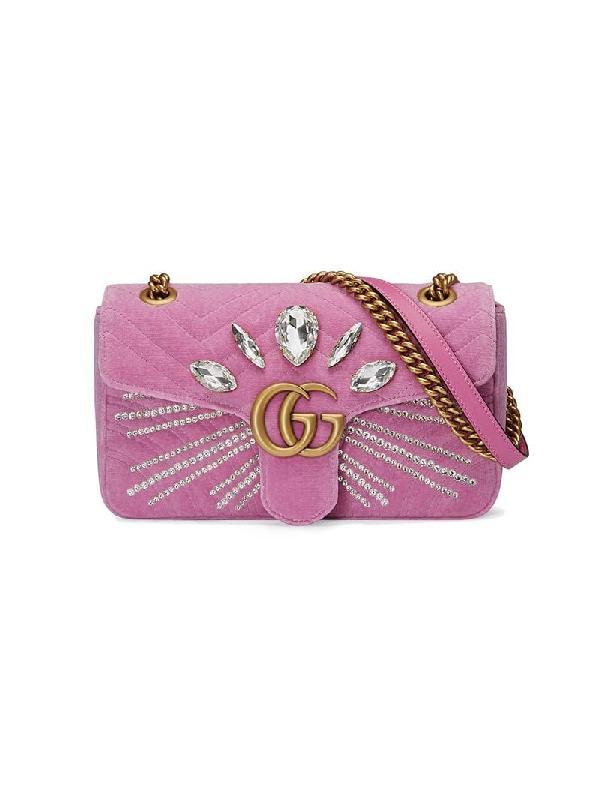 ea6dc97447c Gucci Gg Marmont 2.0 Crystal Embellished Velvet Crossbody Bag - Pink ...