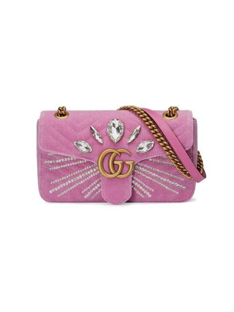 Gucci Gg Marmont 2.0 Crystal Embellished Velvet Crossbody Bag - Pink