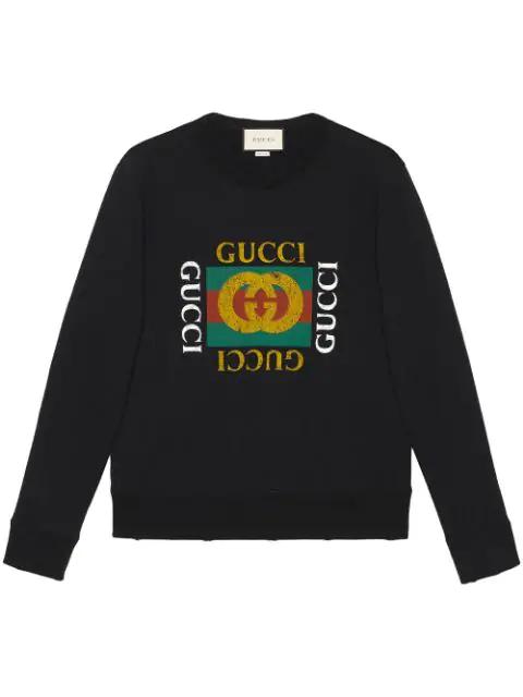 Gucci Distressed Effect Logo Print Cotton Sweatshirt In 1015 Nero