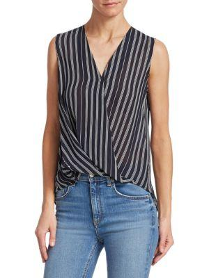 Rag & Bone Victor Sleeveless Surplice Striped Blouse In Navy