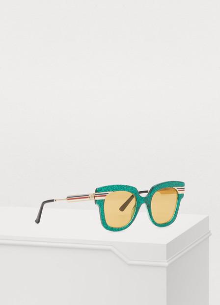Gucci Web Glitter Acetate Sunglasses In Green/Gold