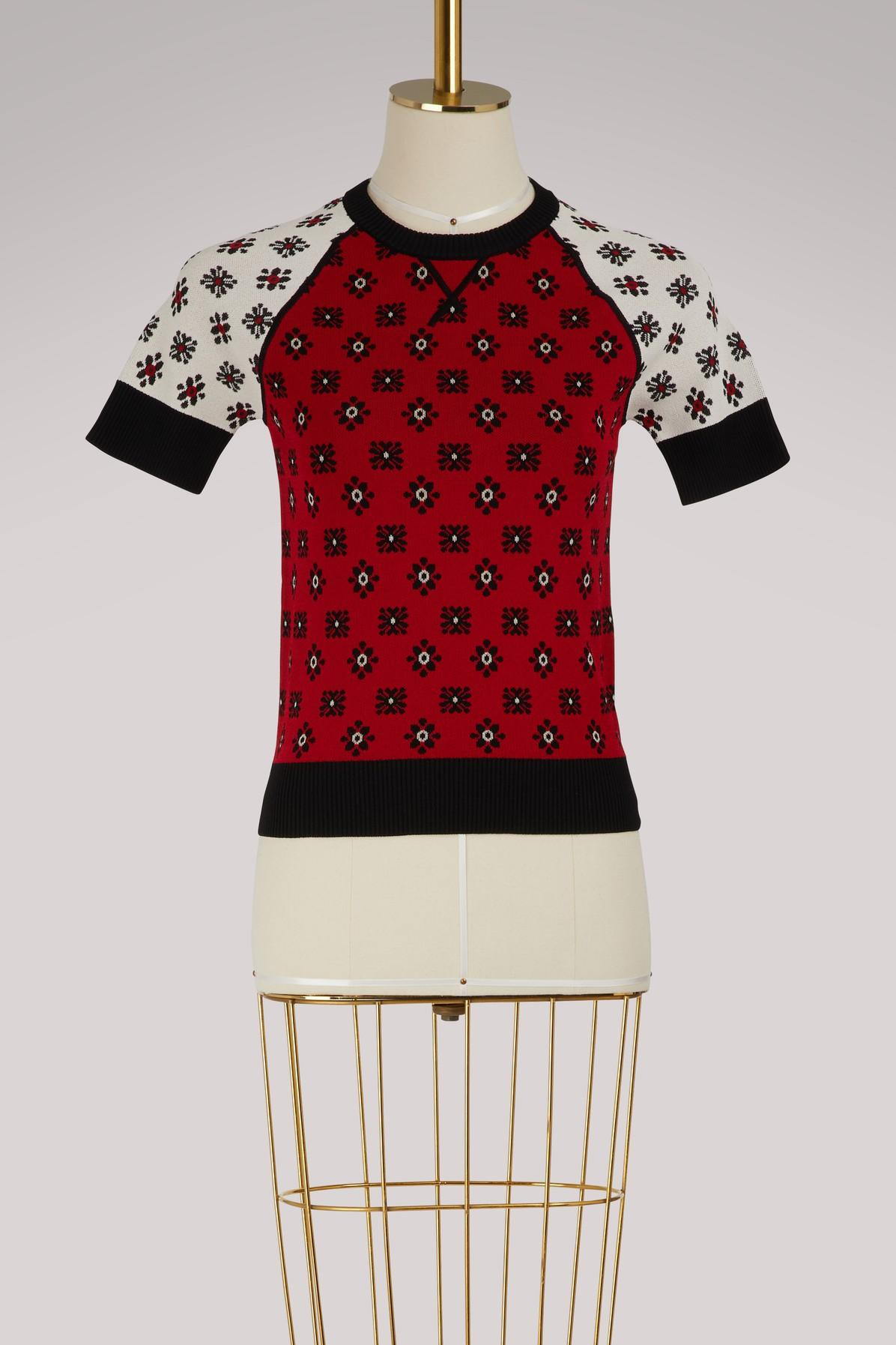 Red Valentino Knit Top In Cherry