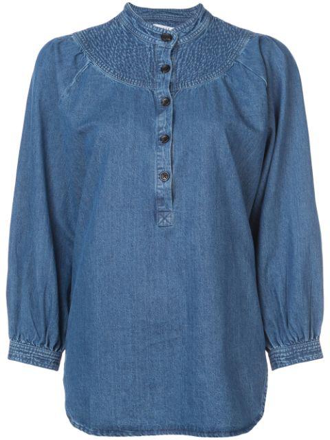 Apiece Apart Fenna Stitched Denim Top In Blue