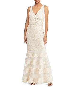 01054359900a Ralph Lauren Lauren Lace Mermaid Gown - 100% Exclusive In Ivory/Gold  Metallic