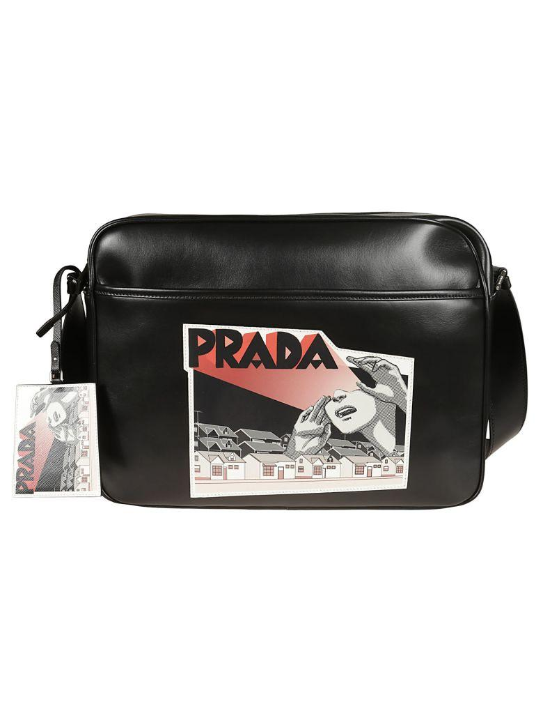 059f818185762c Prada Comic-Logo Print Shoulder Bag In Black | ModeSens