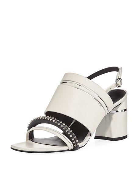 3.1 Phillip Lim Drum Multi Straps Leather Sandals In White