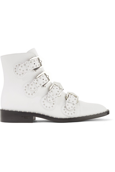 7bf700db635 Elegant Studded Leather Ankle Boots - White