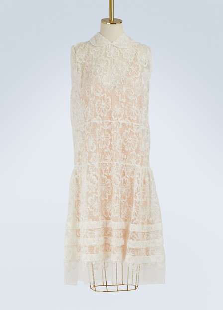 Miu Miu Sleeveless Lace Midi Dress In Off-White