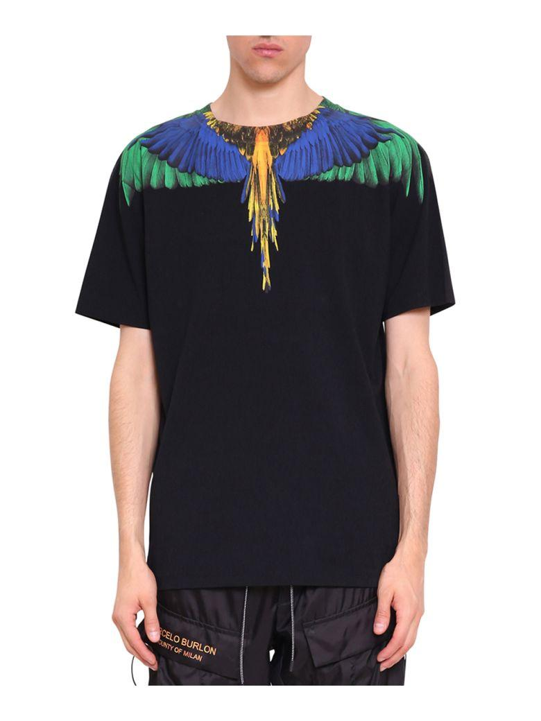 Marcelo Burlon County Of Milan Color Wing Black Cotton T-shirt Round Neck In Nero
