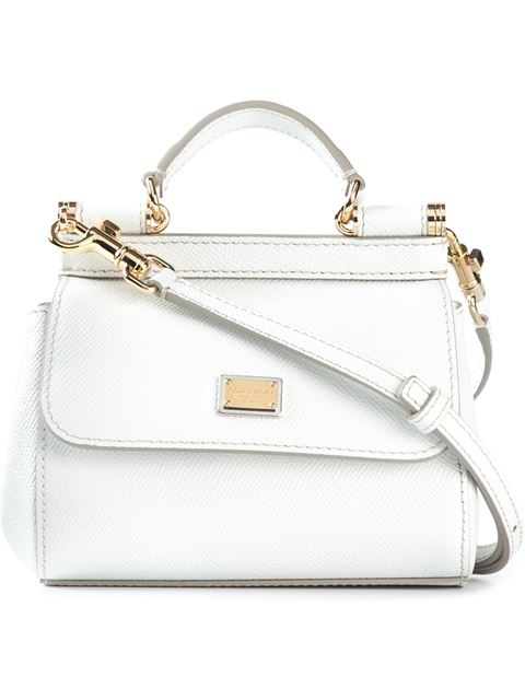 Dolce & Gabbana Dolce&Gabbana Medium Sicily Bag In Dauphine Print Leathe In Bianco