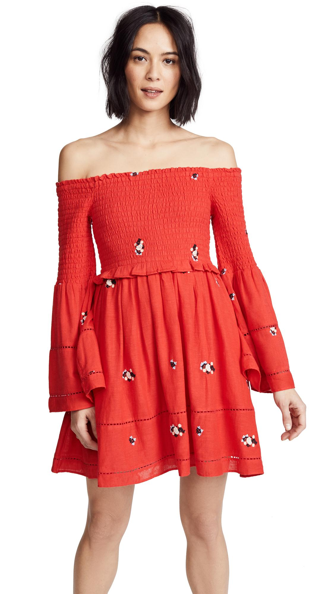 6e53610a206c9 Free People Counting Daisies Embroidered Mini Dress In Red Combo ...