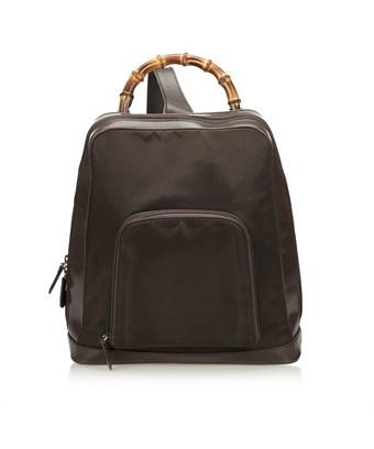 6b156c7e0e5982 Gucci Pre-Owned: Bamboo Nylon Sling Backpack In Brown X Dark Brown ...