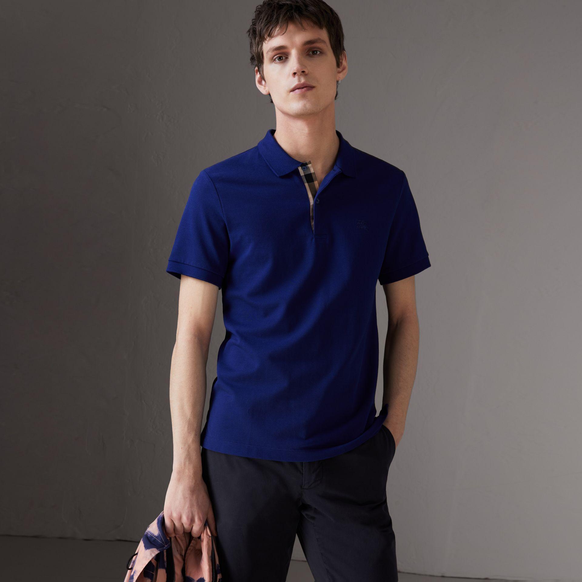 e8074b496fa3 Burberry Check Placket Cotton PiquÉ Polo Shirt In Blue