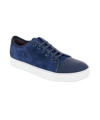 bedst 100% høj kvalitet outlet butik Mens Lanvin Navy Suede Nubuck Calfskin Lace Up Dbb1 Sneakers