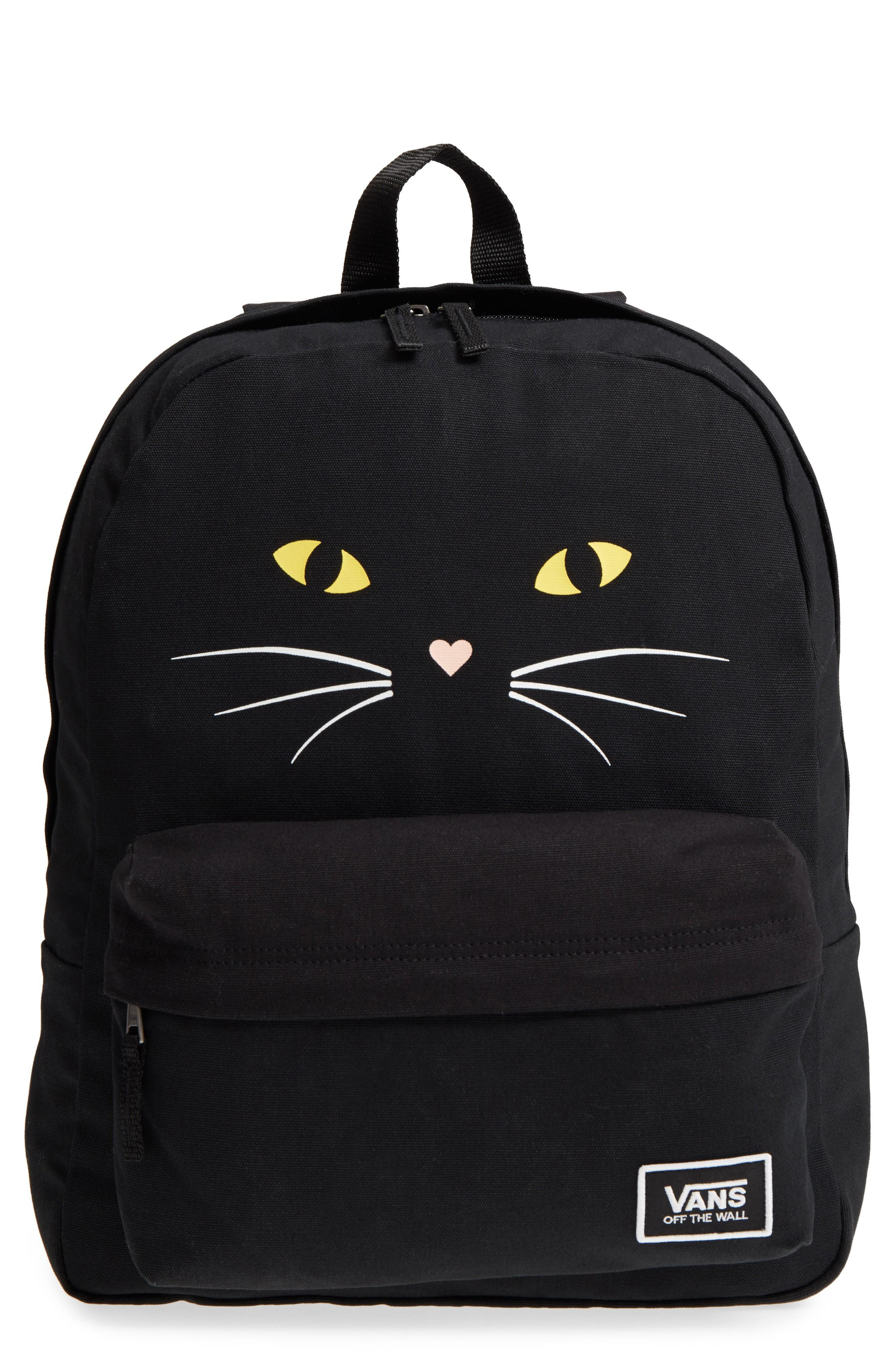 d624584a21 Vans Realm Classic Backpack - Black In Black Cat