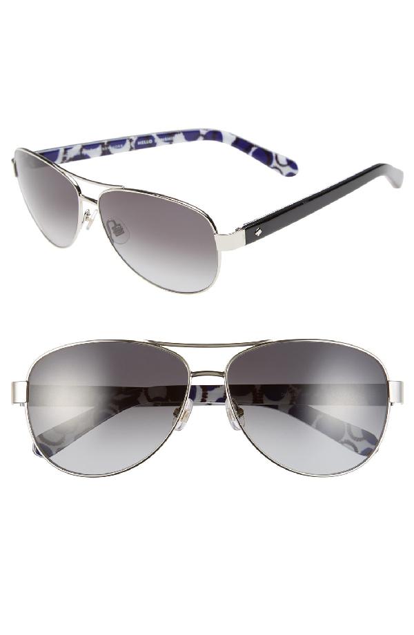 e9c28acc5ce4 Kate Spade 'Dalia2' 58Mm Aviator Sunglasses - Silver/ Dots | ModeSens